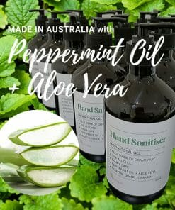 Hand sanitiser Made in Australia with 70% alcohol and peppermint oil and aloe vera